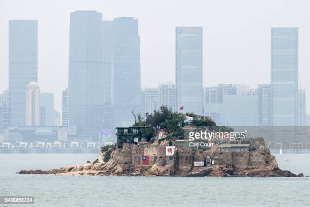 Shiyu or Lion Islet part of Kinmen County one of Taiwan's offshore islands is seen in front of the Chinese city of Xiamen China on April 20 2018 in...