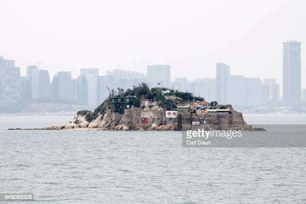 Shiyu or Lion Islet part of Kinmen County one of TaiwanÕs offshore islands is seen in front of the Chinese city of Xiamen China on April 20 2018 in...