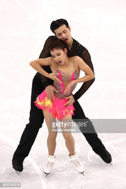 Shiyue Wang and Xinyu Liu of China compete during the Figure Skating Ice Dance Short Dance on day 10 of the PyeongChang 2018 Winter Olympic Games at...