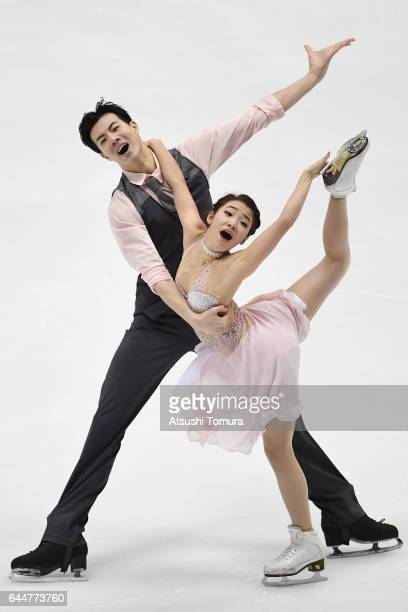 Shiyue Wang and Xinyu Liu of China compete in the figure skating ice dance free dance on the day seven of the 2017 Sapporo Asian Winter Games at...