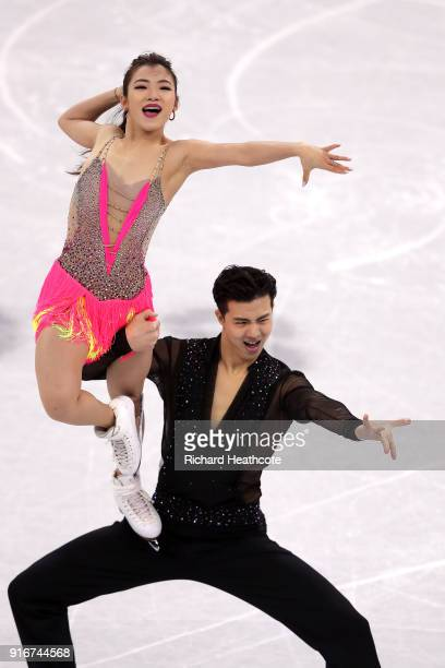 Shiyue Wang and Xinyu Liu of China compete in the Figure Skating Team Event Ice Dance Short Dance on day two of the PyeongChang 2018 Winter Olympic...
