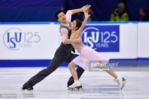 Shiyue Wang and Xinyu Liu of China compete in the Ice Dance Free Dance during ISU Four Continents Figure Skating Championships Gangneung Test Event...
