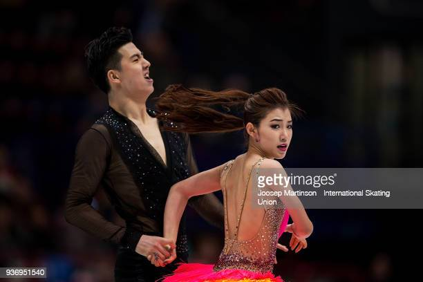 Shiyue Wang and Xinyu Liu of China compete in the Ice Dance Free Dance during day two of the World Figure Skating Championships at Mediolanum Forum...