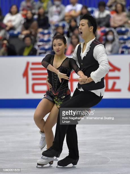 Shiyue Wang and Xinyu Liu of China compete in the Ice Dance Rhythm Dance during day two of the ISU Grand Prix of Figure Skating NHK Trophy at...