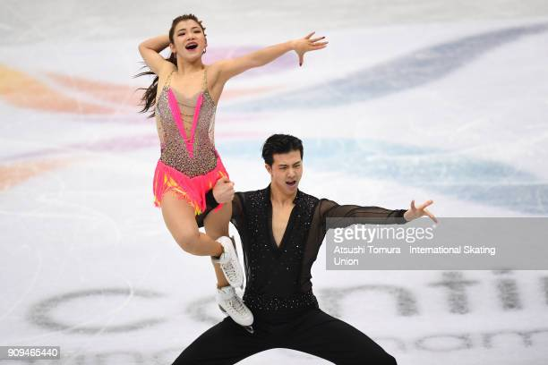 Shiyue Wang and Xinyu Liu of China compete in the ice dance short dance during the Four Continents Figure Skating Championships at Taipei Arena on...