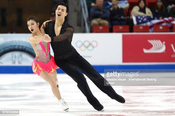 Shiyue Wang and Xinyu Liu of China perform in the Ice Dance short program on Day 2 of the ISU Grand Prix of Figure Skating at Herb Brooks Arena on...