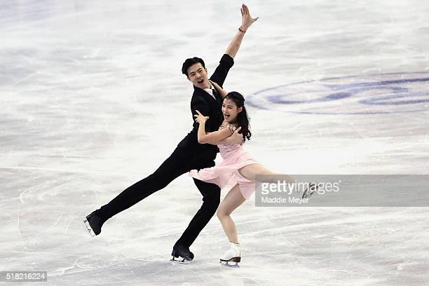Shiyue Wang and Xinyu Liu of China skate in the Ice Dance Short program during day 3 of the ISU World Figure Skating Championships 2016 at TD Garden...