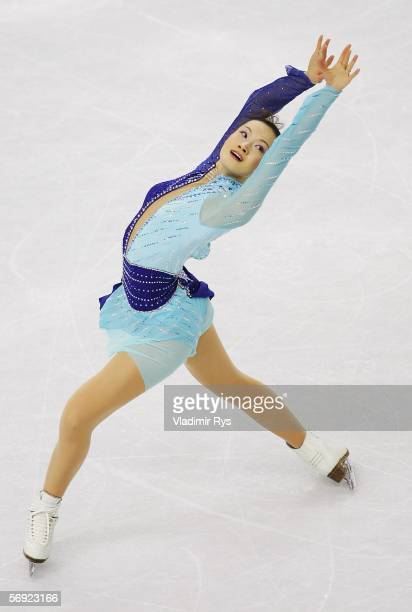 Shizuka Arakawa of Japan performs during the women's Free Skating program of figure skating during Day 13 of the Turin 2006 Winter Olympic Games on...