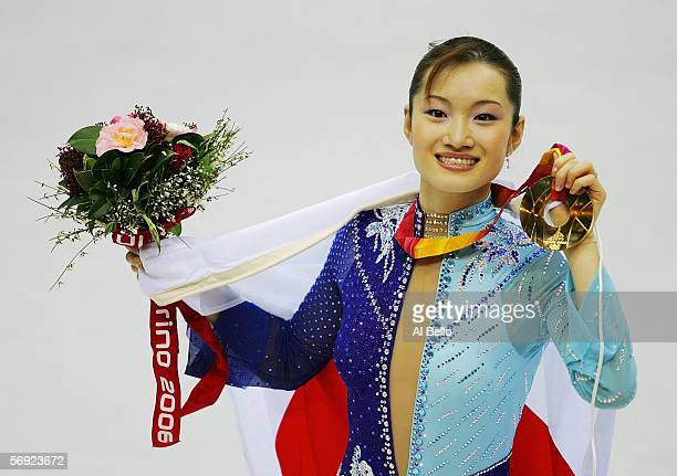 Shizuka Arakawa of Japan wins the gold medal in the women's Free Skating program of figure skating during Day 13 of the Turin 2006 Winter Olympic...
