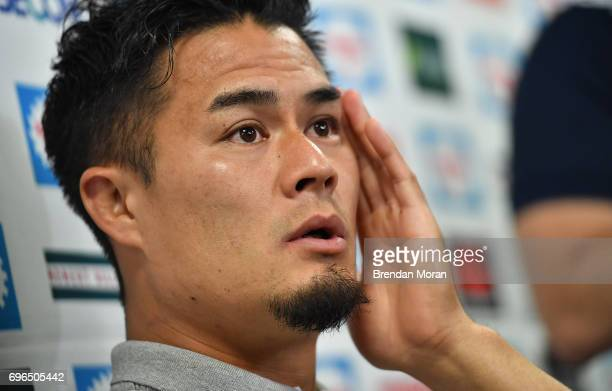 Shizuoka Japan 16 June 2017 Yuu Tamura of Japan speaks at a press conference after the captain's run in the Shizuoka Stadium Epoca in Fukuroi...