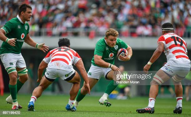 Shizuoka , Japan - 17 June 2017; Finlay Bealham of Ireland, centre, during the international rugby match between Japan and Ireland at the Shizuoka...