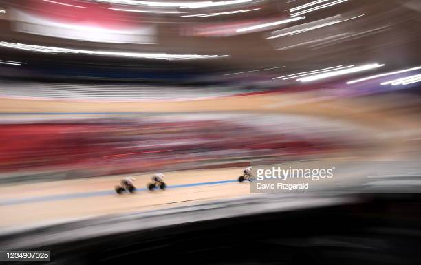 Shizuoka , Japan - 28 August 2021; Jody Cundy, Jaco van Gass and Kadeena Cox of Great Britain on their way to winning gold and setting a new world...