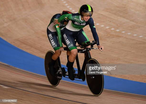 Shizuoka , Japan - 28 August 2021; Katie-George Dunlevy and Eve McCrystal of Ireland celebrate after setting a new world record in the Women's B 3000...