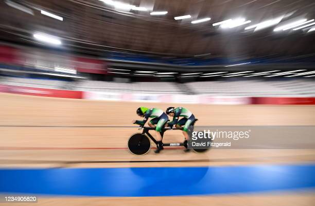 Shizuoka , Japan - 28 August 2021; Katie-George Dunlevy and Eve McCrystal of Ireland on their way to winning silver in the Women's B 3000 metre...