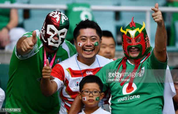 Shizuoka Japan 28 September 2019 Ireland and Japan supporters prior to the 2019 Rugby World Cup Pool A match between Japan and Ireland at the...