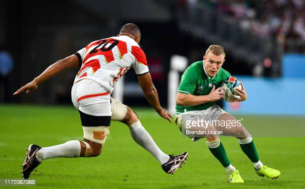 Shizuoka , Japan - 28 September 2019; Keith Earls of Ireland in action against Michael Leitch of Japan during the 2019 Rugby World Cup Pool A match...
