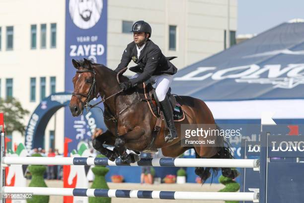 Shk Majid Bin Abdullah Al Qassimi of United Arab Emirates rides Celtion during The President of the UAE Show Jumping Cup at Al Forsan on February 17...