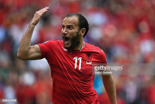 Shkelzen Gashi of Albania reacts after missing a chance during the UEFA EURO 2016 Group A match between Albania and Switzerland at Stade...