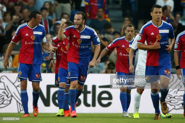 Shkelzen Gashi of FC Basel celebrates with his teammates after scoring a goal during the Raiffeisen Super League match between FC Basel and FC Zurich...