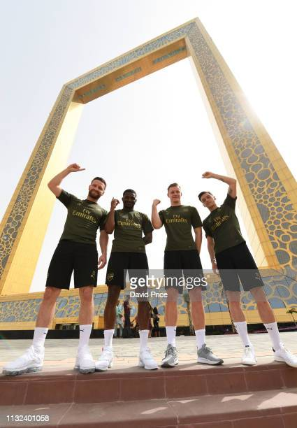 Shkodran Musafi Mesut Ozil Bernd Leno and Ainsley MaitlandNiles of Arsenal during a sightseeing trip to the Dubai Frame on March 23 2019 in Dubai...