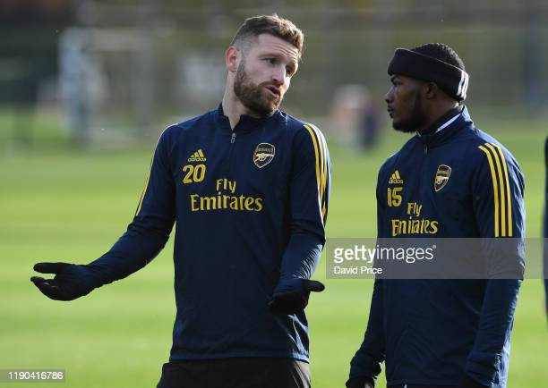 Shkodran Mustafi and Ainsley Maitland-Niles of Arsenal during Arsenal Training Session at London Colney on November 27, 2019 in St Albans, England.
