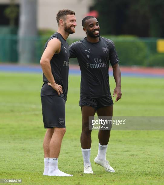 Shkodran Mustafi and Alexandre Lacazette of Arsenal during the Arsenal Training Session at Singapore American School on July 25 2018 in Singapore