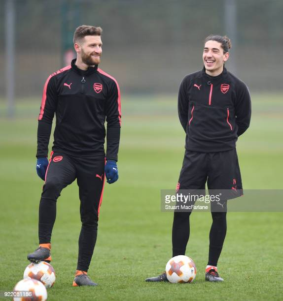 Shkodran Mustafi and Hector Bellerin of Arsenal during a training session at London Colney on February 21 2018 in St Albans England