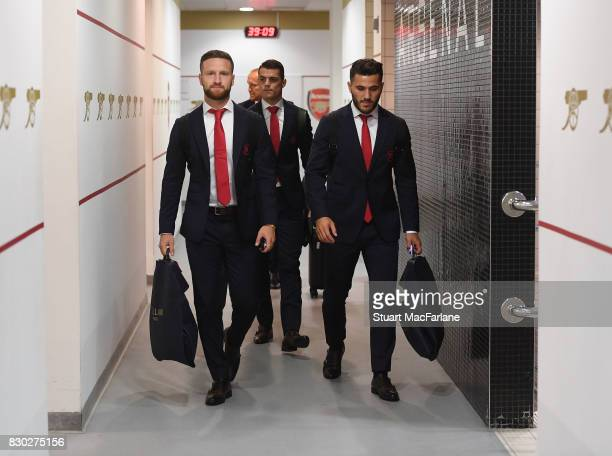 Shkodran Mustafi and Sead Kolasinac in the home changing room before the Premier League match between Arsenal and Leicester City at Emirates Stadium...