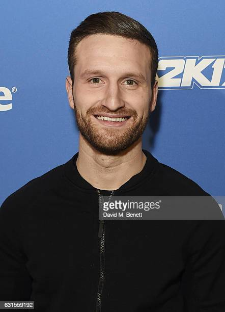 Shkodran Mustafi attends the Denver Nuggets v Indiana Pacers game during NBA Global Games London 2017 at The O2 Arena on January 12 2017 in London...