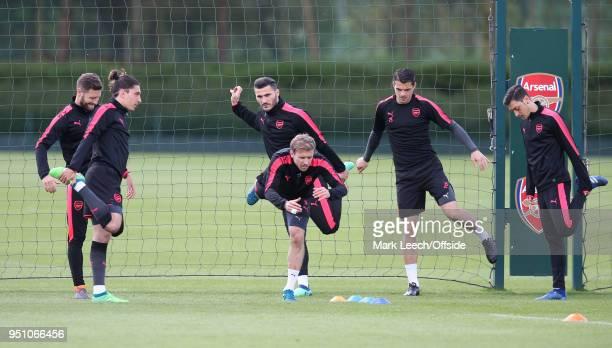 Shkodran Mustafi Hector Bellerin Sead Kolasinac Nacho Monreal Hector Bellerin Mesut Ozil during Arsenal Training at London Colney on April 25 2018 in...