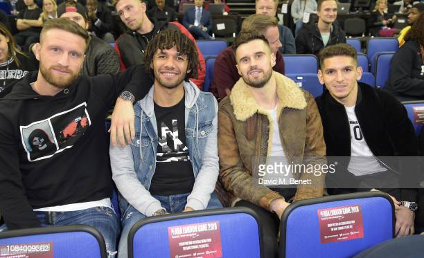 Shkodran Mustafi Mohamed Elneny Carl Jenkinson and Lucas Torreira attend the NBA London Game 2019 between the Washington Wizards and New York Knicks...
