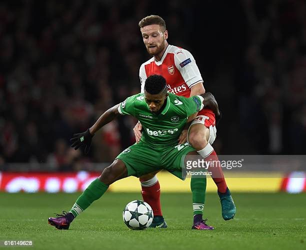Shkodran Mustafi of Arsenal and Jonathan Cafu of PFC Ludogorets Razgrad in action during the UEFA Champions League match between Arsenal FC and PFC...