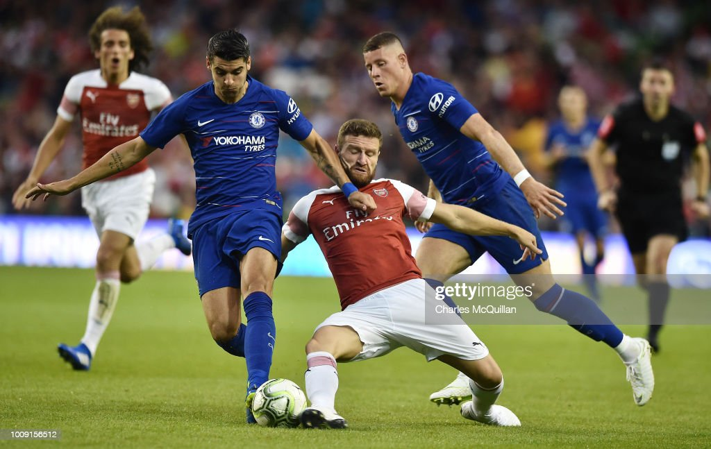 Shkodran Mustafi of Arsenal and Ross Barkley and Alvaro Morata of Chelsea during the Pre-season friendly International Champions Cup game between Arsenal and Chelsea at Aviva stadium on August 1, 2018 in Dublin, Ireland.
