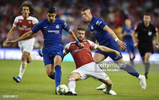 Shkodran Mustafi of Arsenal and Ross Barkley and Alvaro Morata of Chelsea during the Preseason friendly International Champions Cup game between...