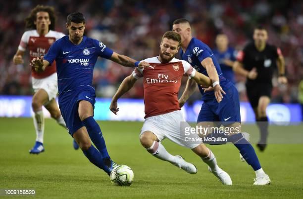 Shkodran Mustafi of Arsenal and Ross Barkley and Alvaro Morata of Chelsea during the Preseason friendly International Champions Cup game between...