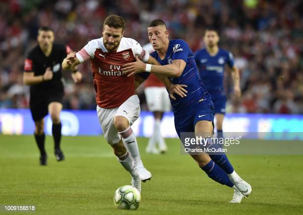 Shkodran Mustafi of Arsenal and Ross Barkley of Chelsea during the Preseason friendly International Champions Cup game between Arsenal and Chelsea at...