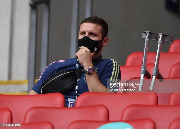 Shkodran Mustafi of Arsenal before the FA Cup Final match between Arsenal and Chelsea at Wembley Stadium on August 01 2020 in London England Football...