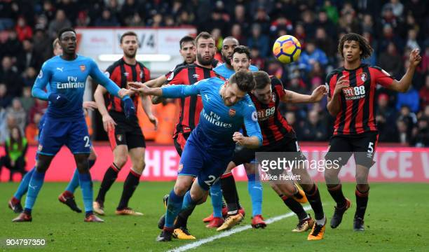 Shkodran Mustafi of Arsenal blocks a shot from Dan Gosling of AFC Bournemouth during the Premier League match between AFC Bournemouth and Arsenal at...