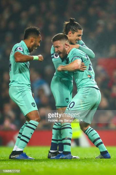 Shkodran Mustafi of Arsenal celebrates after scoring a goal to make it 01 during the Premier League match between Manchester United and Arsenal FC at...