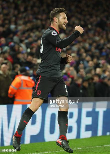 Shkodran Mustafi of Arsenal celebrates as he scores their first goal during the Premier League match between Crystal Palace and Arsenal at Selhurst...