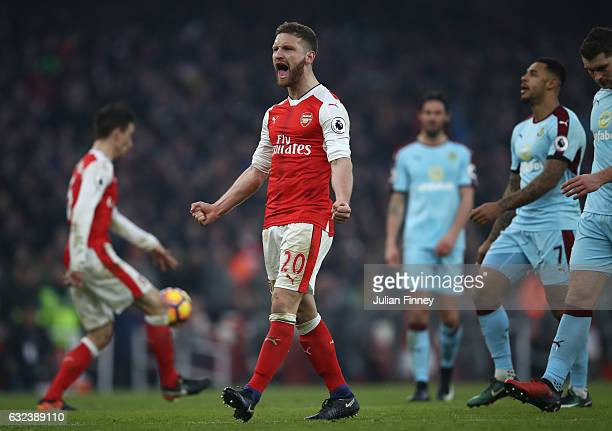 Shkodran Mustafi of Arsenal celebrates his side's 21 win after the Premier League match between Arsenal and Burnley at the Emirates Stadium on...