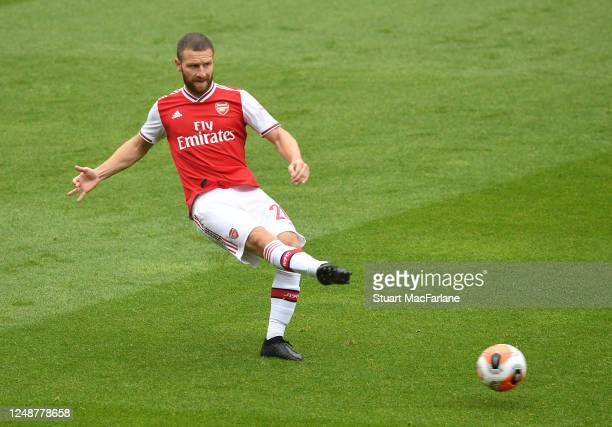 Shkodran Mustafi of Arsenal during a friendly match between Arsenal and Brentford at Emirates Stadium on June 10 2020 in London England
