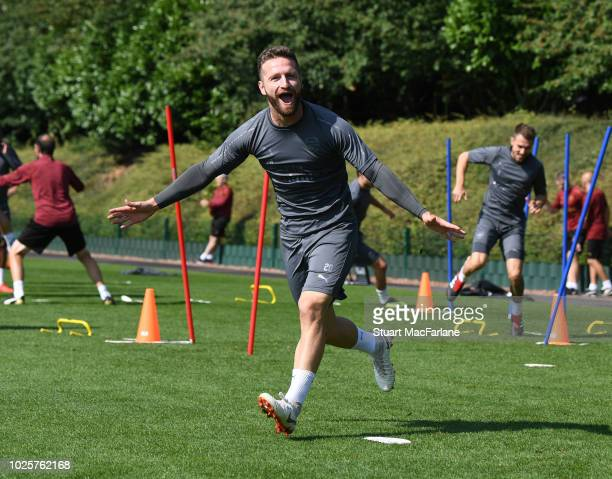 Shkodran Mustafi of Arsenal during a training session at London Colney on September 1 2018 in St Albans England