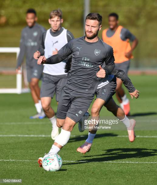 Shkodran Mustafi of Arsenal during a training session at London Colney on September 25 2018 in St Albans England