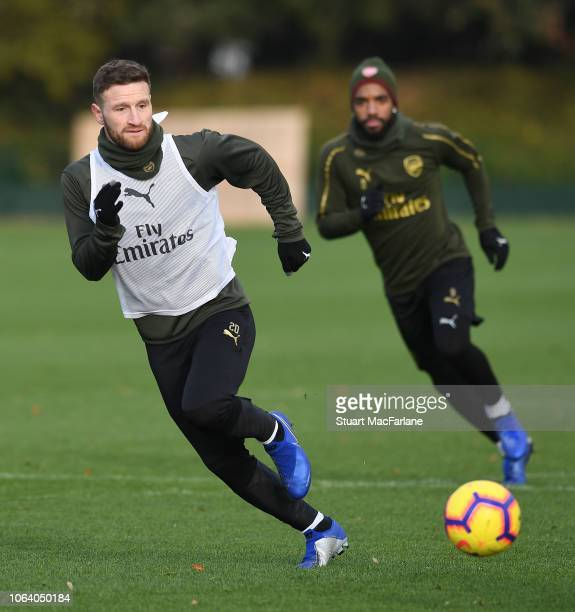 Shkodran Mustafi of Arsenal during a training session at London Colney on November 21, 2018 in St Albans, England.