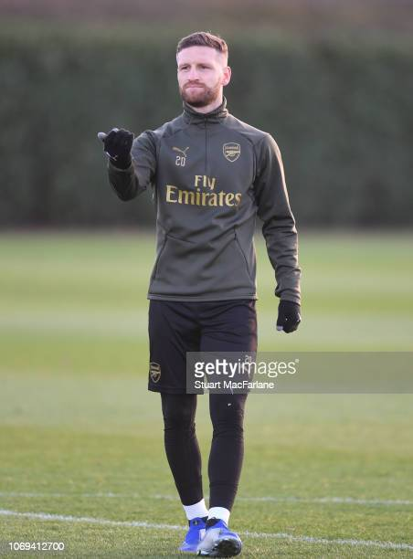 Shkodran Mustafi of Arsenal during a training session at London Colney on December 7 2018 in St Albans England