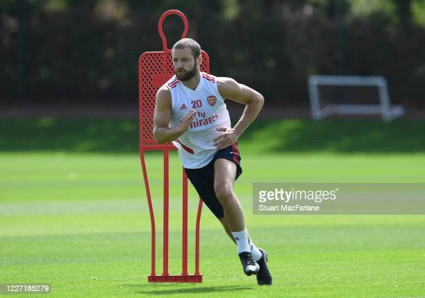 Shkodran Mustafi of Arsenal during a training session at London Colney on May 26 2020 in St Albans England