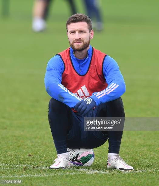 Shkodran Mustafi of Arsenal during a training session at London Colney on December 21, 2020 in St Albans, England.