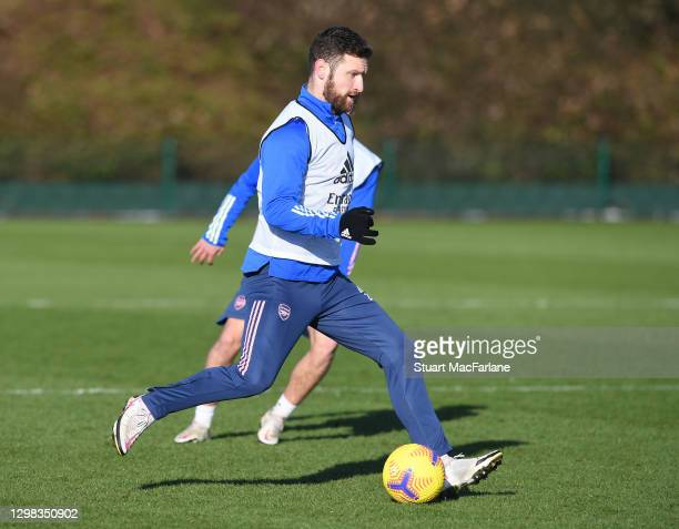 Shkodran Mustafi of Arsenal during a training session at London Colney on January 25, 2021 in St Albans, England.