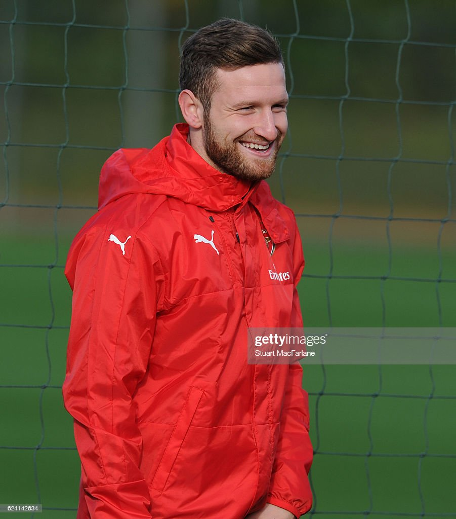 Shkodran Mustafi of Arsenal during a training session at London Colney on November 18, 2016 in St Albans, England.